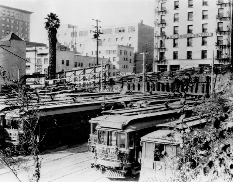 Parked streetcars at the Pacific Electric Hill Street Station, 1925