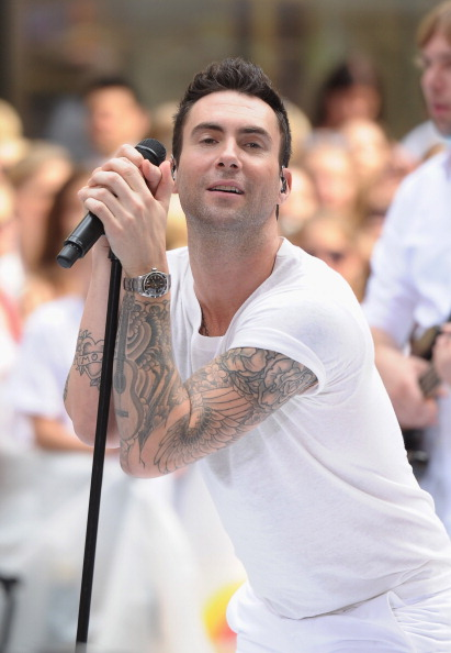 ". NEW YORK, NY - JUNE 29:  Singer Adam Levine of Maroon 5 performs on NBC\'s ""Today\"" at Rockefeller Plaza on June 29, 2012 in New York City.  (Photo by Michael Loccisano/Getty Images)"