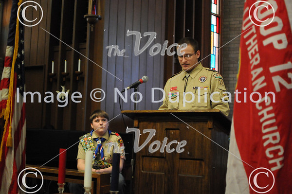 Eagle Scout Court of Honor for Ryan Jackson Troop 12 at St. Luke's Church in Montgomery, IL 2-24-13