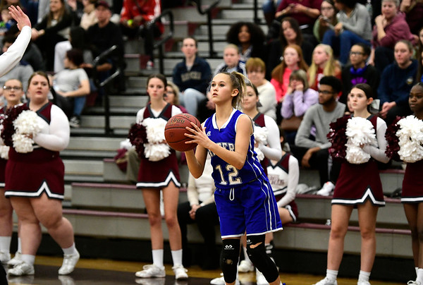 1/17/2019 Mike Orazzi | Staff Bristol Eastern's Cali­Rose Doyon (12) during Thursday night's girls basketball game with Bristol Central at BC.