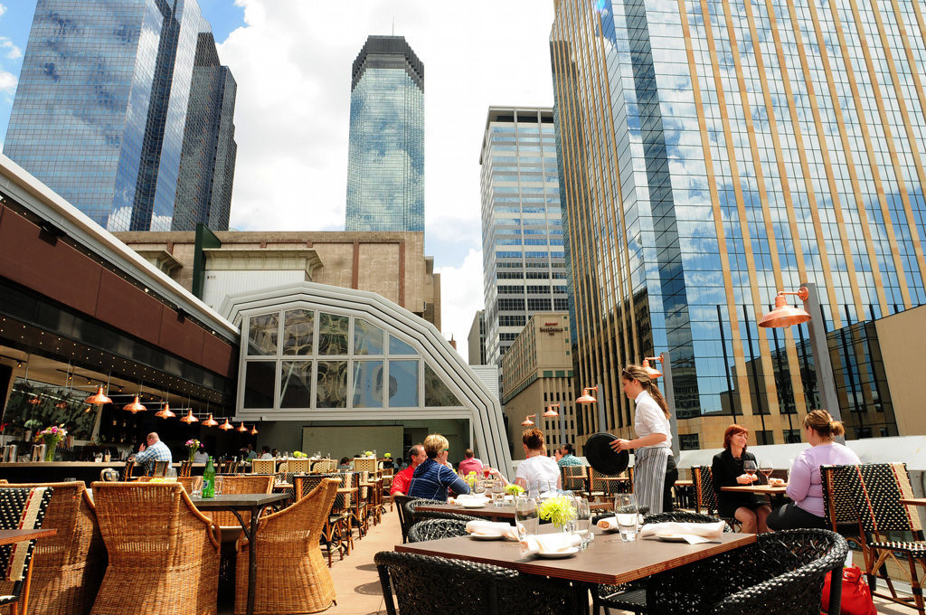 . The  patio of Union in downtown Minneapolis features a retractable glass roof. (Pioneer Press: Scott Takushi)