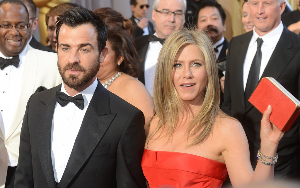 . Justin Theroux and Jennifer Aniston arrives at the 85th Academy Awards at the Dolby Theatre in Los Angeles, California on Sunday Feb. 24, 2013 ( Hans Gutknecht, staff photographer)