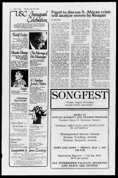 Daily Trojan, Vol. 90, No. 50, April 28, 1981