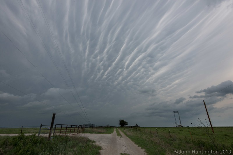Stormy mammatus clouds near a tornadic storm in northeastern Oklahoma
