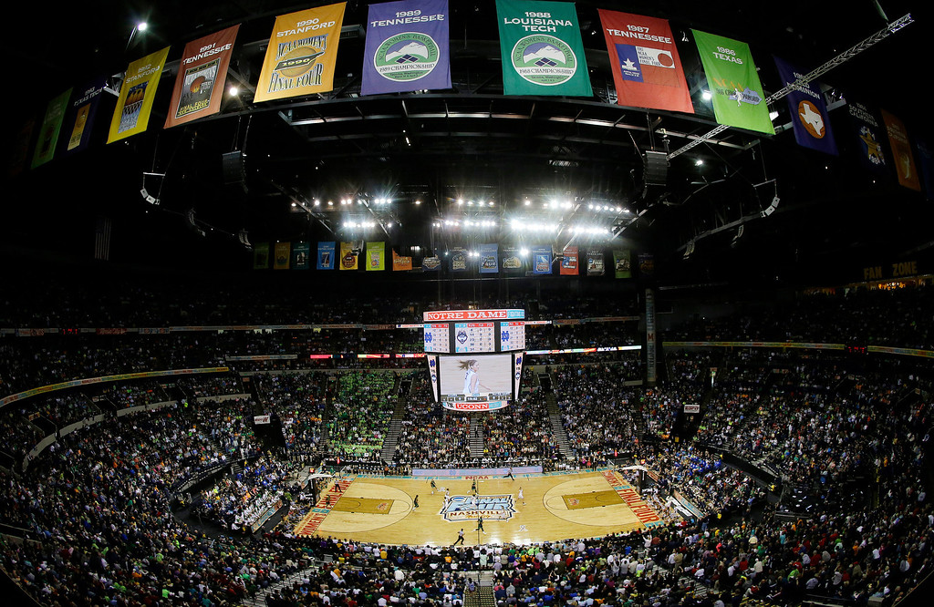 . Connecticut plays Notre Dame during the first half of the championship game in the Final Four of the NCAA women\'s college basketball tournament, Tuesday, April 8, 2014, in Nashville, Tenn. (AP Photo/Mark Humphrey)