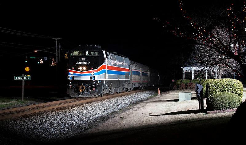 Amtrak Phase II Heritage motor #66 leads train 79 the southbound Carolinian thru Landis,NC on 12/30/12.