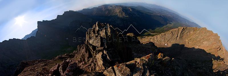 Summit panorama from East Corner Peak in the Gore Range, CO.