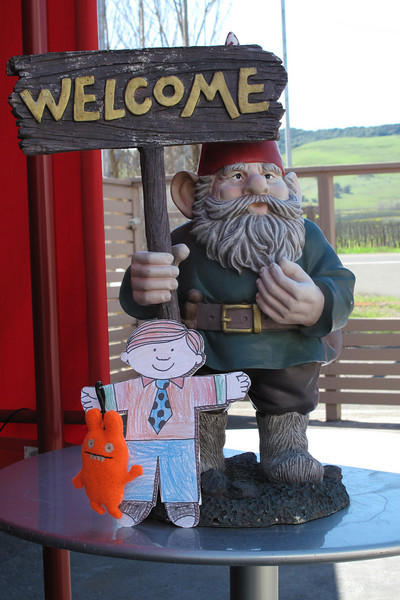 Flat Stanley and a gnome. Welcome to Roshambo Winery tasting room, Sonoma, California