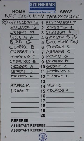 AFC Stoneham (0) Tadley Calleva (2)