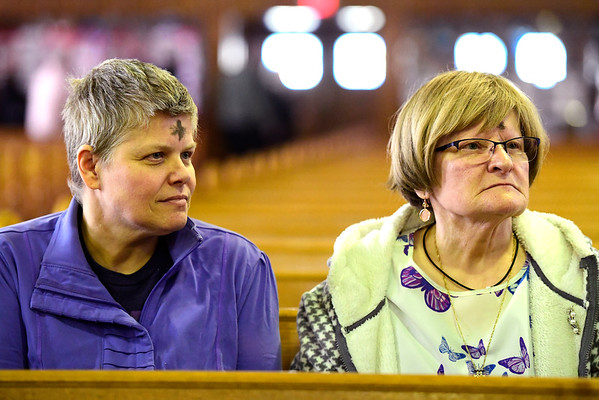 3/6/2019 Mike Orazzi | Staff Lorie Glasser and her mother Caroline Boyd after Ash Wednesday Mass at St Stanislaus Roman Catholic Church in Bristol Wednesday.