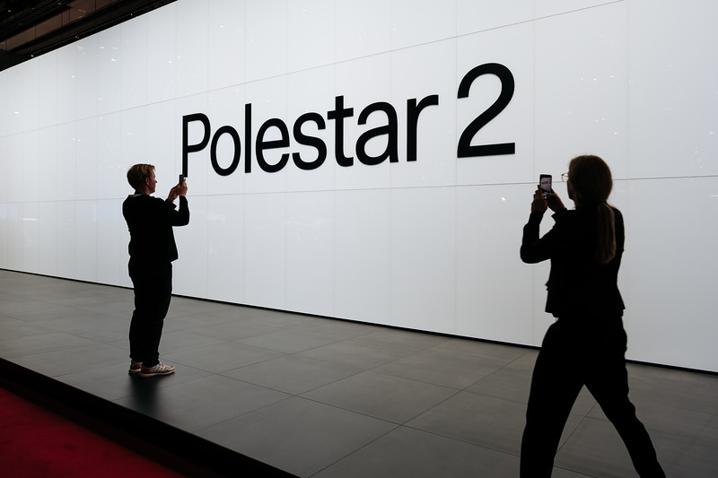 Outside the Polestar 2 booth - Samuel Zeller for the New York Times