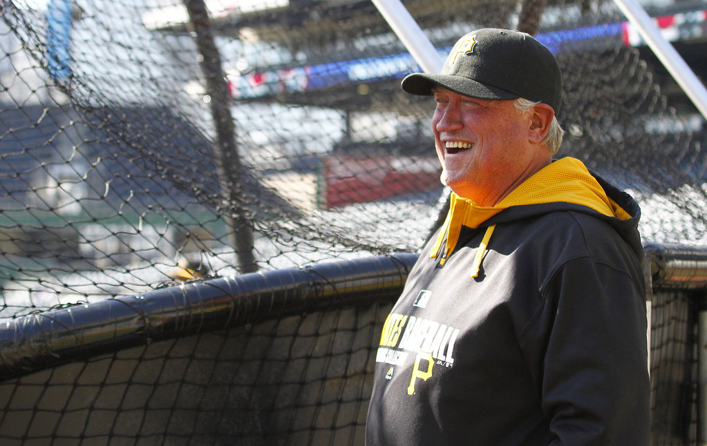 . Manager Clint Hurdle #13 of the Pittsburgh Pirates laughs during batting practice on Opening Day at PNC Park March 31, 2014 in Pittsburgh, Pennsylvania.  (Photo by Justin K. Aller/Getty Images)