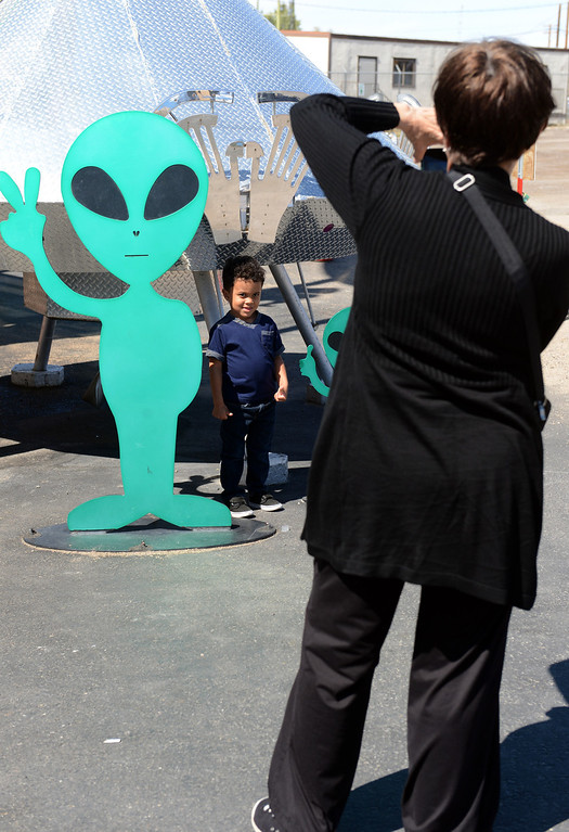 . Alien Fresh Jerky in Baker, CA, Thursday, April 3, 2014. The owner is planning to build a UFO shaped hotel behind the popular Alien Fresh Jerky store. (Photo by Jennifer Cappuccio Maher/Inland Valley Daily Bulletin)