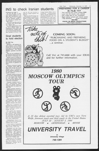Daily Trojan, Vol. 87, No. 42, November 14, 1979