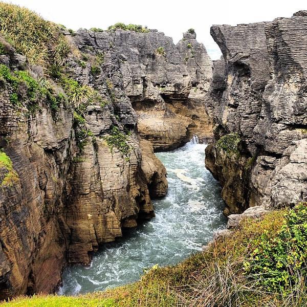 Pancake rocks and blow holes of Punakaiki, New Zealand