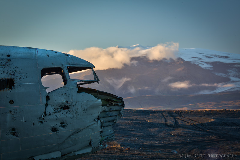 Wreckage of a US Navy DC-3 in southern Iceland. Note the snow-capped peak in the distance is infamous volcano Eyjafjallajökull, which shut down European air traffic in 2010.