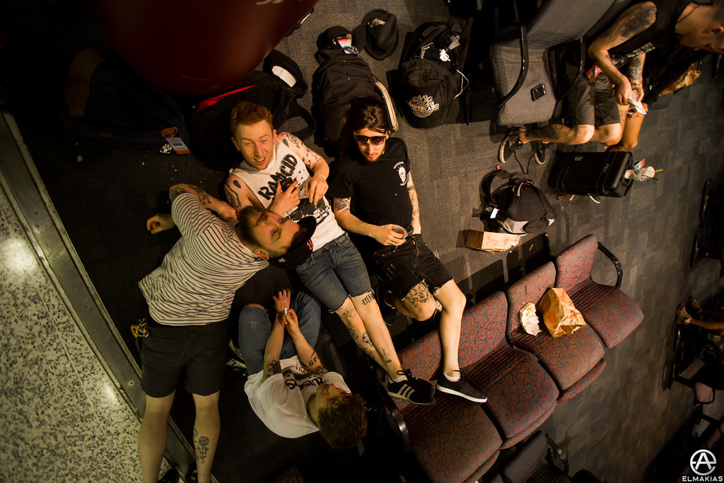 The While She Sleeps guys relaxing