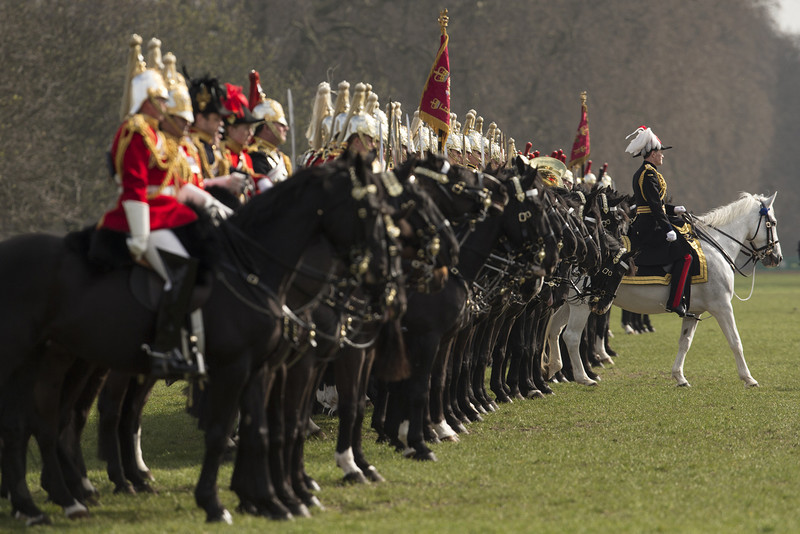 . Major General Ed Smyth-Osbourne (R) conducts the annual Major General\'s Inspection of the Household Cavalry Mounted Regiment in Hyde Park on March 20, 2014 in London, England. The annual Major General\'s Inspection, by Major General Ed Smyth-Osbourne, takes place to check the regiment ahead of their State Ceremonial duties for the year.  (Photo by Oli Scarff/Getty Images)