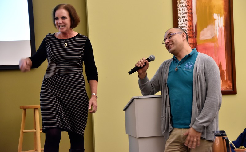 "Kelly and a recent ESL student, Br. Diego, share stories of ""cultural confusion."""