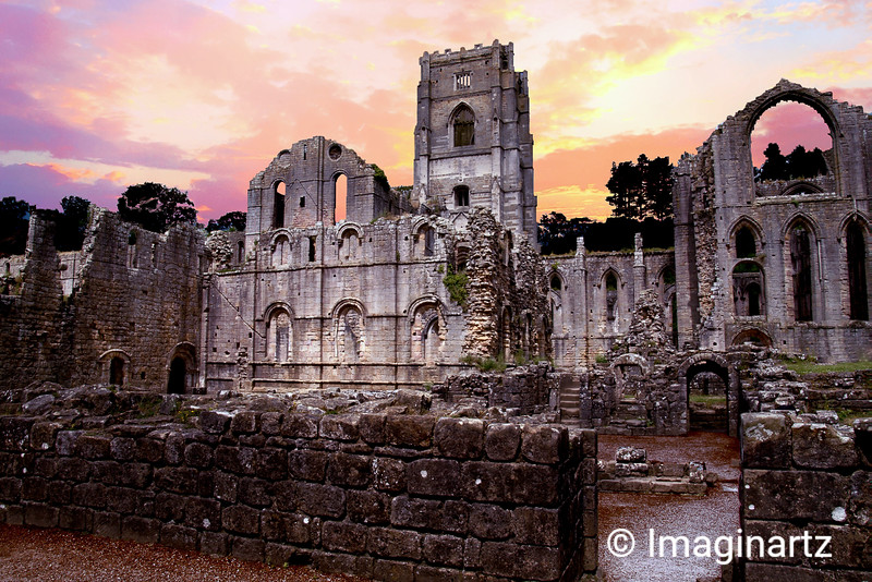 Ruins at Fountains Abbey - North Yorkshire, England