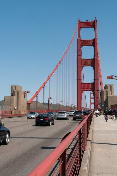 View from the bike lane in Golden Gate Bridge, San Francisco, California