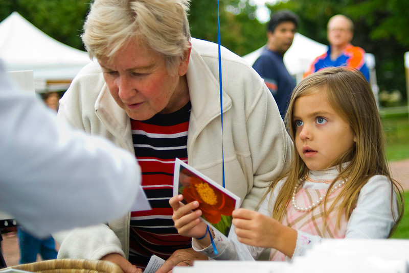 Free Card? - This girl seemed thrilled to get a free greeting card.