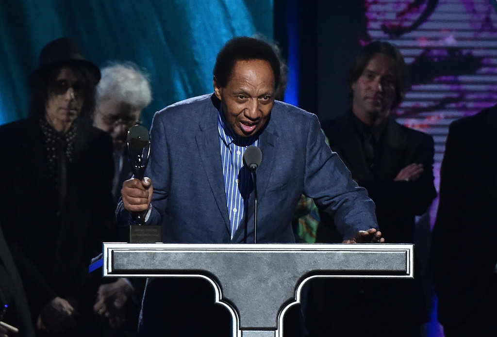 . Musician Billy Boy Arnold onstage during the 30th Annual Rock And Roll Hall Of Fame Induction Ceremony at Public Hall on April 18, 2015 in Cleveland, Ohio.  (Photo by Mike Coppola/Getty Images)