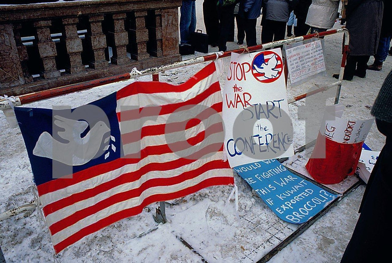 Signs protesting the Gulf War on Feb. 18, 1991 in downtown Munich, Germany.