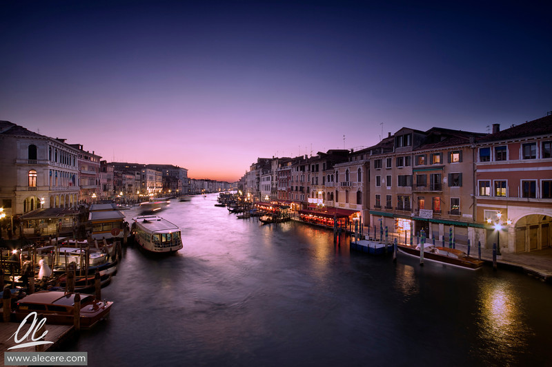 Purple suits Venice, don't you think? - Canal Grande from the Rialto Bridge in Venice, Italy