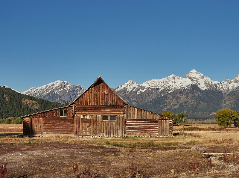 Mormon sheds with the Tetons behind