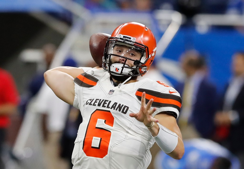 . Cleveland Browns quarterback Baker Mayfield throws during pregame of an NFL football preseason game against the Detroit Lions, Thursday, Aug. 30, 2018, in Detroit. (AP Photo/Carlos Osorio)