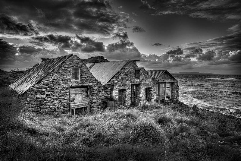 Irish Fisheremens Cottages BW.jpg