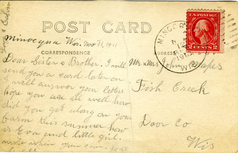 Postcard from Calvin and Lucy to his brother John and Josephine Mapes