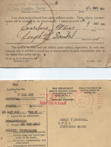 Discharge approval and transportation request for Oct 31 1943