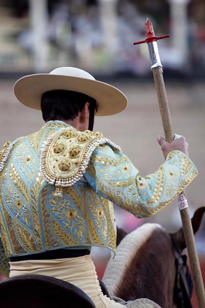 Bloody spear. Bullfight at Real Maestranza bullring, Seville, Spain, 15 August 2006.