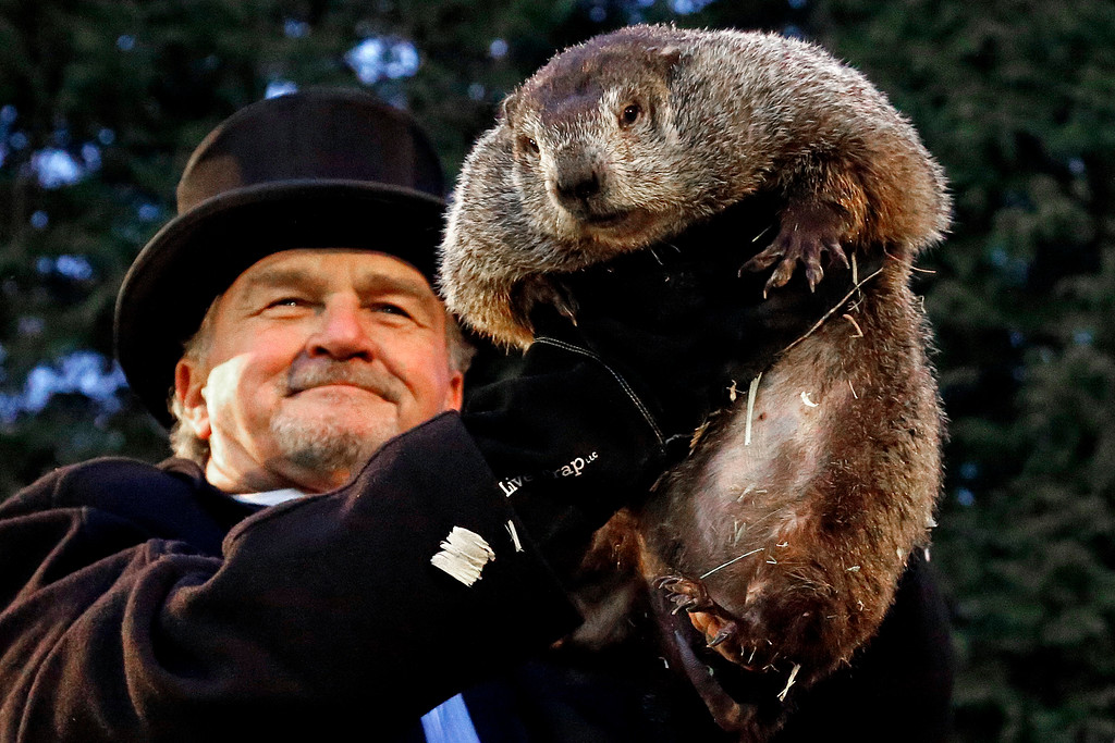 . Groundhog Club handler John Griffiths holds Punxsutawney Phil, the weather prognosticating groundhog, during the 131st celebration of Groundhog Day on Gobbler\'s Knob in Punxsutawney, Pa. Thursday, Feb. 2, 2017. Phil\'s handlers said that the groundhog has forecast six more weeks of winter weather. (AP Photo/Gene J. Puskar)