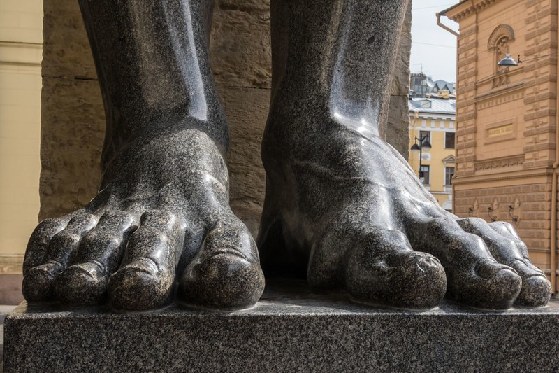 The feet of one of the giant Atlantes statues at the Hermitage Museum.