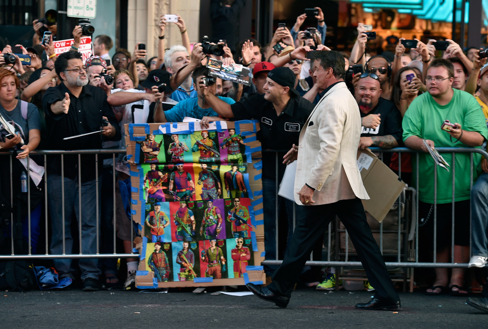 """. Actor Sylvester Stallone attends Lionsgate Films\' \""""The Expendables 3\"""" premiere at TCL Chinese Theatre on August 11, 2014 in Hollywood, California.  (Photo by Frazer Harrison/Getty Images)"""