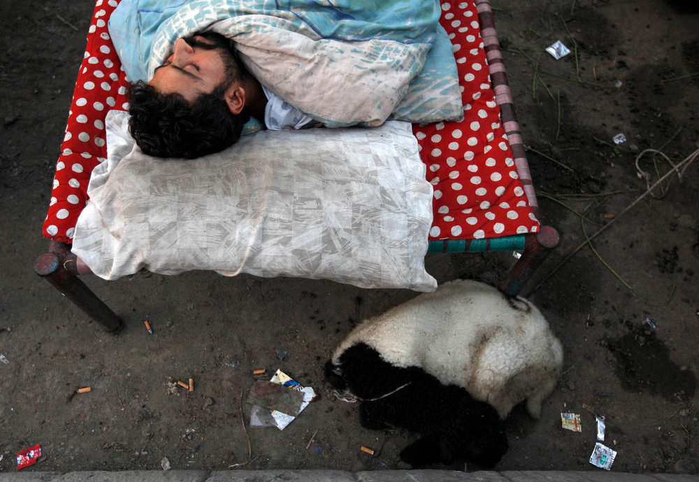 . A man sleeps on a charpoy bed along a road near a railway station, as a sheep rests beside him, in Karachi April 1, 2013. Charpoy bed guesthouses are only setup at night from 9pm to 7am for the homeless, passengers and drivers, charging about 40 Pakistani rupees ($0.40) per night. REUTERS/Akhtar Soomro