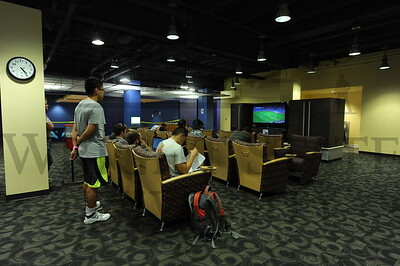 13949 Students watching World Cup Soccer in the Student Uion 7-1-14