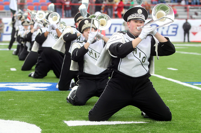 . The Ohio University Band performs during the pre-game show of show at the Independence Bowl NCAA college football game between Louisiana-Monroe and Ohio in Shreveport, La., Friday, Dec. 28, 2012. (AP Photo/Charles A. Smith)