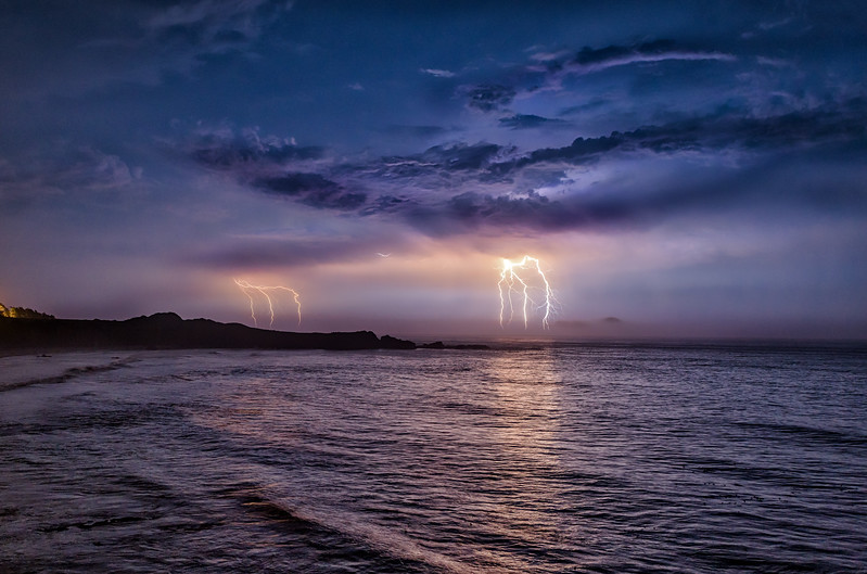 Lightning Storm Over Black Point, Study 1, Sea Ranch California
