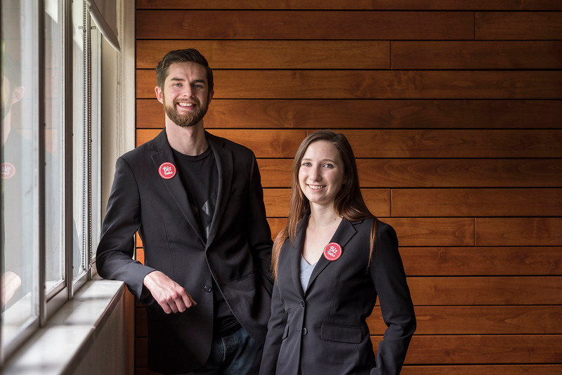 Sean Woulfe (left) and Kiaya Sabolovic (right) are recent COB alums behind Biz Talks, photographed on campus on Wednesday, April 5, 2017 in Chico, Calif. (Jason Halley/University Photographer)