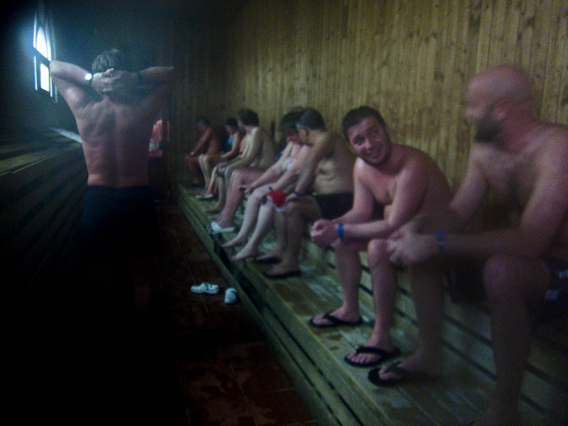 March , 2012, Budapest, Hungary -  Tourists and locals enjoy the sauna at Szechenyi Bath.  Budapest is known as the SPA Capital of the world.  Nearly 120 hot springs feed the city's historic thermal baths (Furdo) and approximately 70 million litres of water used every day.