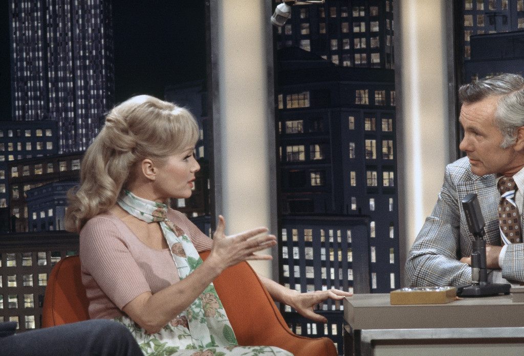 ". Actress Debbie Reynolds on the ""Tonight Show\"" with Johnny Carson being filmed in Burbank, California on May 9, 1973. (AP Photo/Anastasi Giuseppe)"