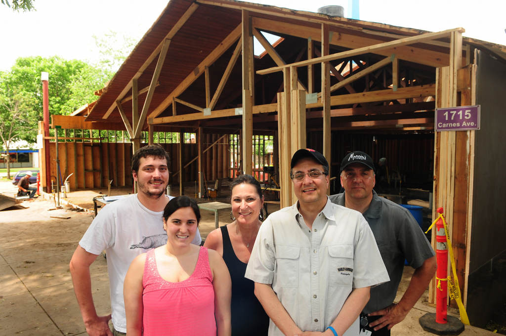 . The Mancini family, longtime St. Paul business owners, are opening a new restaurant at the State Fairgrounds in Falcon Heights, in time for the 2013 Minnesota State Fair. From left: Nick Mancini, Trisha Ketchmark, Jane, Pat and John Mancini at their building under construction.   (Pioneer Press: Scott Takushi)