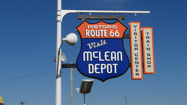 McLean Depot Train Shop & A Home on the Road Interpretive Statue