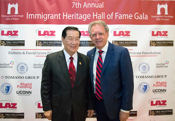 09/26/19 Wesley Bunnell | StaffrrThe Immigrant Heritage Hall of Fame Gala and Induction Ceremony took place on Thursday evening at The Aqua Turf in Southington including two inductees with New Britain ties. Dr. Zulma Toro the President of CCSU and former mayor of New Britain Lucian Pawlak. Inductee Henry Lee and induction committee co-chair Demetrios Giannaros.