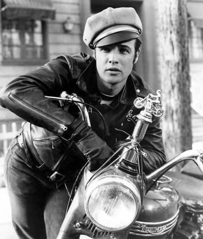 """. Marlon Brando appears in the Columbia Pictures 1954 film \""""The Wild One.\"""" (AP Photo/Turner Classic Movies)"""