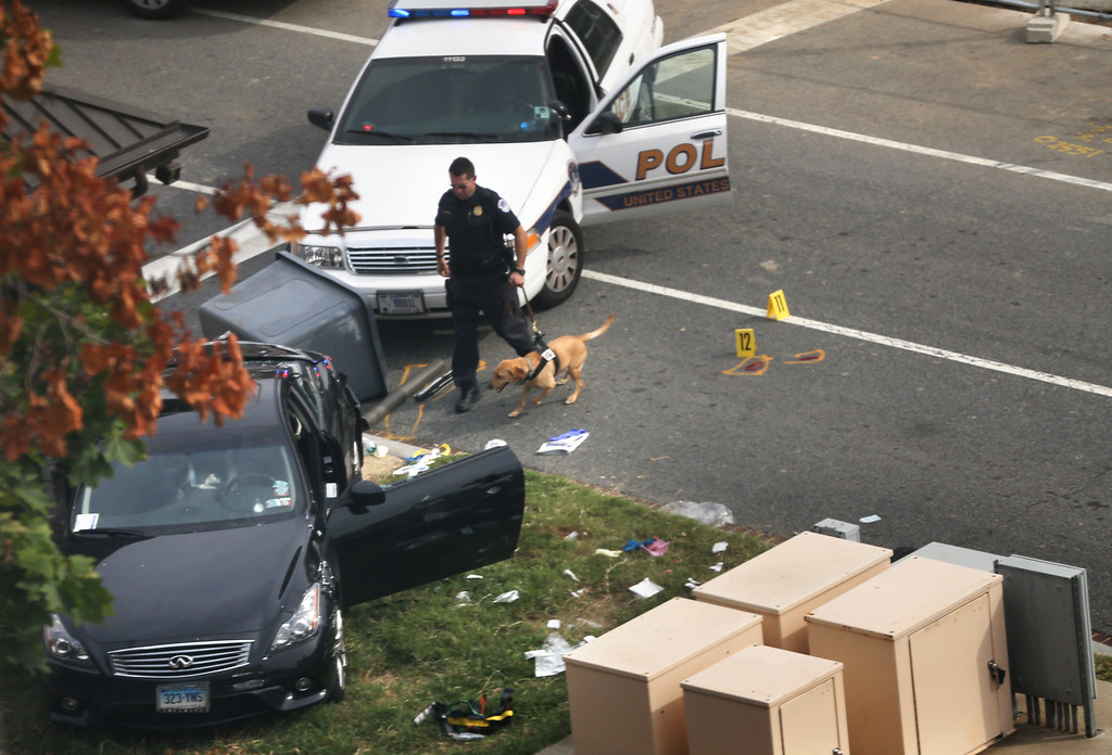 . A police officer checks out a car on grass with his canine near the U.S. Capitol October 3, 2013 on Capitol Hill in Washington, DC. The US Capitol and the White House were placed on lockdown after an \'active shooter\' situation was reported.  (Photo by Mark Wilson/Getty Images)
